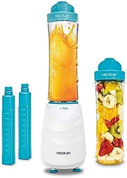 Cecotec Batidora de Vaso Individual Power Titanium One. Cuchillas de titanio, Dos vasos de 600 ml, Dos tubos Refrigeradores, Libre de BPA, Pica hielo, 350W