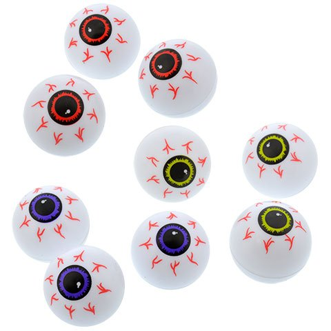Halloween Spooky Creepy Haunted House Kids Teen Toddlers Plastic Ping Pong Eyeballs (PURPLE) 12-PACK -