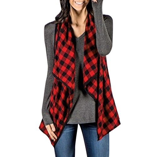 Women Plaid Waistcoat, Sleeveless Waterfall Front Drape Open Front Shawl Coat Vest Jacket (Red, S) (Womens Wear Waterfall)