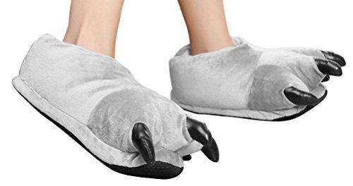 Klauwen Schoenen Halloween Kostuum Pluche Pantoffels Grijs