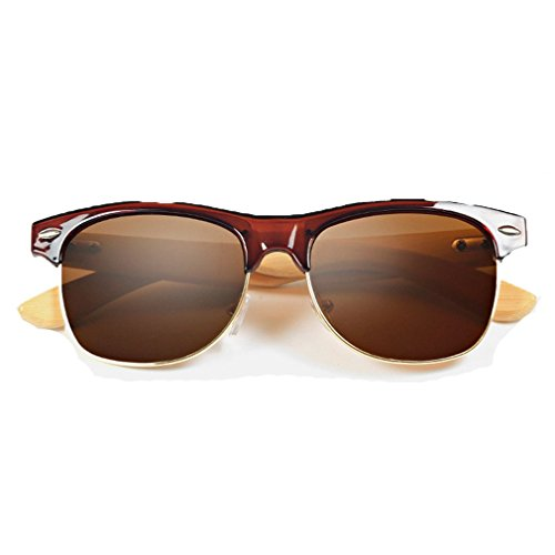 LOMOL Fashion Wooden Frame UV Protection Dazzle Color Lens Wayfarer - Face Suit My Sunglasses Which Men