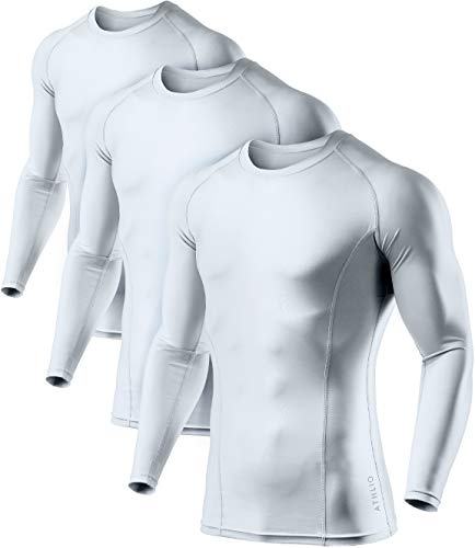 ATHLIO AO-BLS01-WHT_2X-Large Men's (Pack of 3) Cool Dry Compression Long Sleeve Baselayer Athletic Sports T-Shirts Tops BLS01 by ATHLIO (Image #1)
