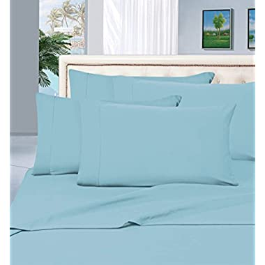 Elegant Comfort 1500 Thread Count Wrinkle & Fade Resistant Egyptian Quality Hypoallergenic Ultra Soft Luxurious 4-Piece Bed Sheet Set, Queen, Aqua