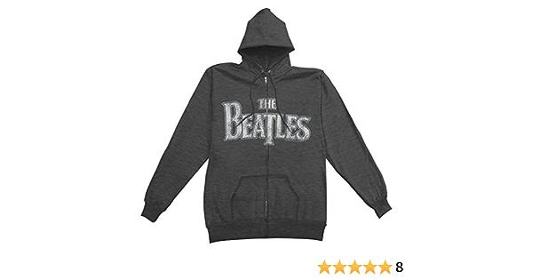 Beatles Men/'s  Apple Logo Zippered Hooded Sweatshirt Black
