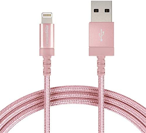 AmazonFundamentals Nylon Braided Lightning to USB A Cable, MFi Certified Apple iPhone Charger, Rose Gold, 6-Foot