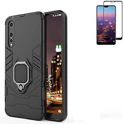Coque hybride résistante aux chocs pour Huawei P20 Pro - Double couche de protection arrière pour Huawei P20 Pro - Protection d'écran en verre trempé