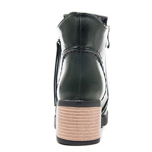Dress High Boots COOLCEPT Dark Fashion Ankle Heel Mid Women Zipper Green 38 Autumn Wqz0qrYw