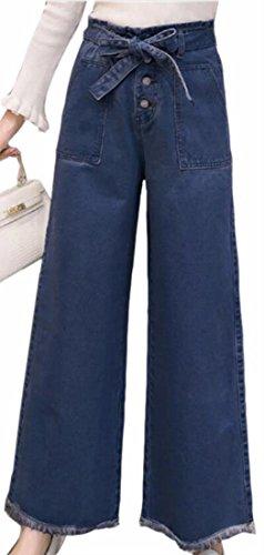 FLCH+YIGE Women's High Waist Wide Leg Cutoff Belted Hipster Denim Jean Pants 1 M