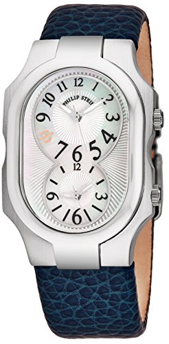 Philip Stein Signature Womens-Large Stainless Steel Dual Time Zone Watch - Mother of Pearl Face Natural Frequency Technology Unisex Watch - Blue Leather Band Analog Quartz Watches for Women or Men
