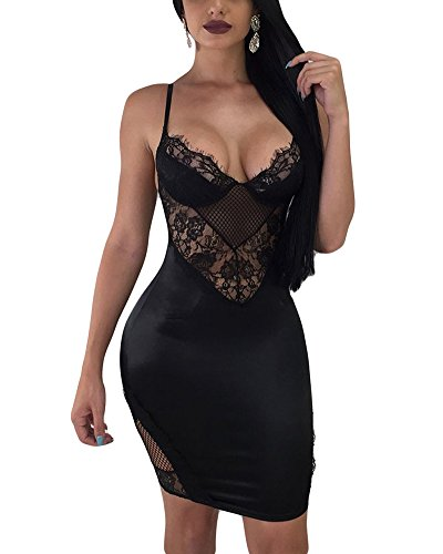 Aro Lora Women's Lace Dress Sleeveless Backless Mesh Hollow Out Cocktail Bodycon Mini Dress X-Large Black