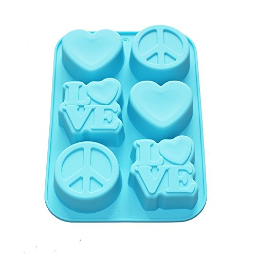 X-Haibei Love Heart Peace Sign Soap Mini Cake Jello Supplies Silicone Mold 6-Cavity