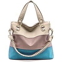BaoLan Women's Fashion PU Leather Splice Crossbody Bags (Blue)