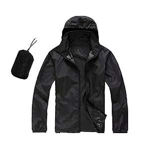 BEESCLOVER Men Women Quick Dry Hiking Jackets Outdoor Sport Skin Dust Coat Thin Waterproof UV Protection Camping Hoodie Top 3XL Black XS