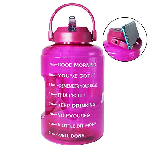 BuildLife 1 Gallon Water Bottle with Starw & Motivational Time Marker Large BPA Free Wide Mouth with Handle Reusable Leakproof to Drink More Water Daily (Purple, 1 Gallon)