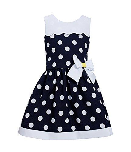 Bonnie Jean Girls Nautical Easter Navy/White Polka Dot Dress, (Navy White Polka Dot Dress)