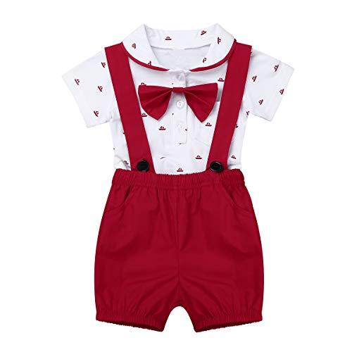 iEFiEL Baby Boys 1st Birthday Outfit Bowtie Gentleman Romper Overalls Bodysuit Suspenders Bib Pants Shorts Red 12-18 Months