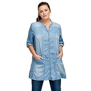 Ellos Women's Plus Size Snap Front Denim Tunic
