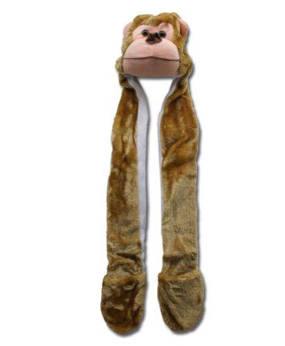 DIME Designer Animal Beanie Monkey Scarf Hood Mitten Beanie 3 in 1 Function Hat