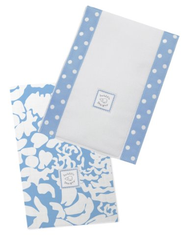 SwaddleDesigns Baby Burpies, Set of 2 Cotton Burp Cloths, Blue Lush