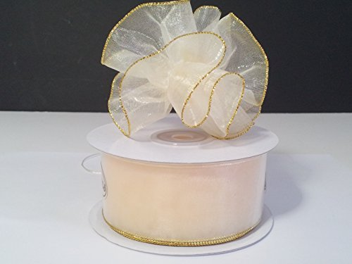 Organza Pull Bow with Gold Trim - 25 Yards (1 1/2