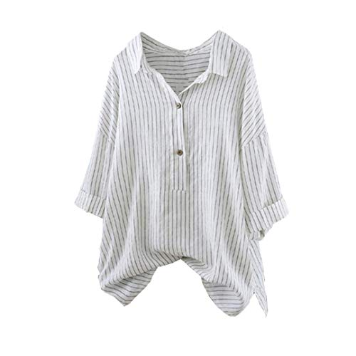 Clearance!Youngh 2018 New Womens Blouses Striped Plus Size Pullover Button Up Loose Three Quarter Fashion Blouse T Shirt Tops Tunic by Youngh Top