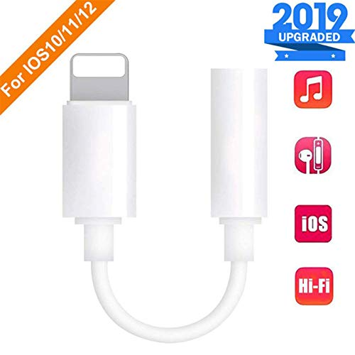for iPhone Headphone Adapter Dongle Connector for iPhone Xs/Xs Max/XR/ 8/8 Plus/X / 7/7 Plus 3.5 mm Headphone Jack Adapter Aux Audio Jack Earphone Splitter Jack Stereo Cable Support iOS 12 System