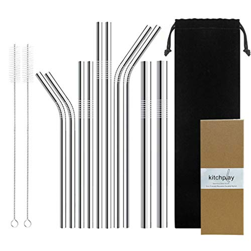 Stainless Steel Drinking Straws- Set of 10 Reusable Metal Straw of 10.5and 8.5for Yeti RTIC Tumblers Ramblers(4 Straight|4 Bent|2 Extra Large|2 Cleaning Brushes),Giftbox Included