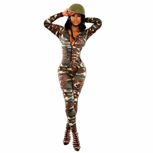 QIYUN.Z Army Green Camouflage Women Deep V-Neck