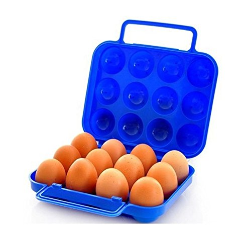 RFL Orpio Plastic Carton Reusable Portable Folding 12 Egg Storage Tray Box with Handle (Random Colour)