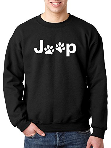 New Way 890 - Crewneck Jeep Dog Paws Logo Unisex Pullover Sweatshirt 2XL Black