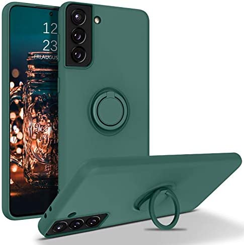 "BENTOBEN Galaxy S21 Case, Phone Case Samsung S21 5G,Slim Silicone 360° Ring Holder Kickstand Soft Rubber Hybrid Hard Protection Shockproof Bumper Non Slip Girls Women Boy Cover for S21 6.2"",Dark Green"