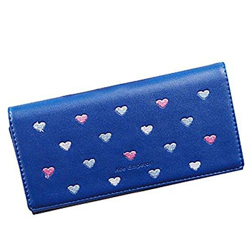 Women Bowknot Long Purse Button Wallet Clutch Hand Bag (Dark Blue) - 3