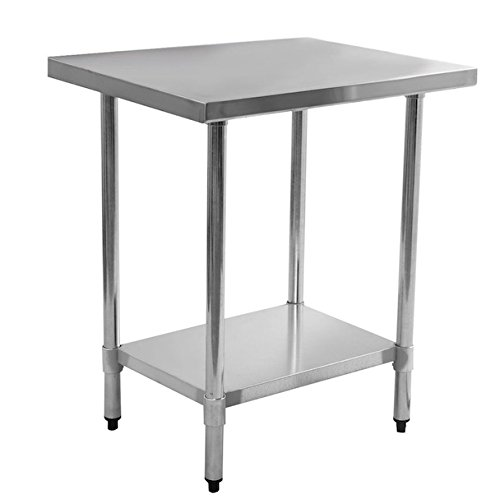 Solid Stainless Steel Commercial Kitchen Work Food Prep Table With Lower Storage Shelf 24