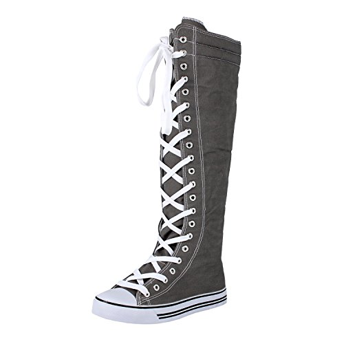 West Blvd Womens Sneaker Kniehohe Schnürstiefel Graue Leinwand-WB