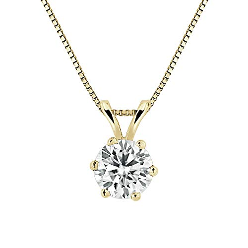 14K Yellow Gold Round 6-Prong Solitaire Moissanite Pendant Necklace (1/2ct TGW, 5mm, O.White) 16 to 18-inch by Diamond Wish