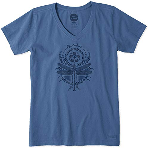 Life is Good. Womens Crusher Vee: Primal Dragonfly, Heather Vintage Blue-XXL