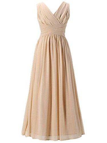 Happy Rose Flower Girl's Dress Party Dresses Juniors Long Bridesmaid Dress Champagne 6