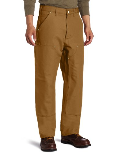 Carhartt Men's Double Front Dungaree Flannel Lined,Carhartt Brown,38 x 30