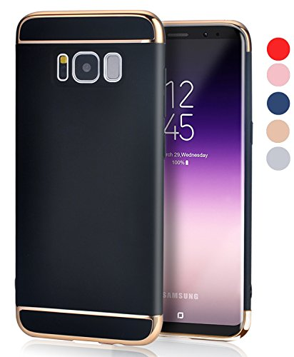 Galaxy S8 Case, VANSIN 3 in 1 Ultra Thin and Slim Hard Case Coated Non Slip Matte Surface with Electroplate Frame for Samsung Galaxy S8 Case (5.8'')(2017) - Black & Gold ()