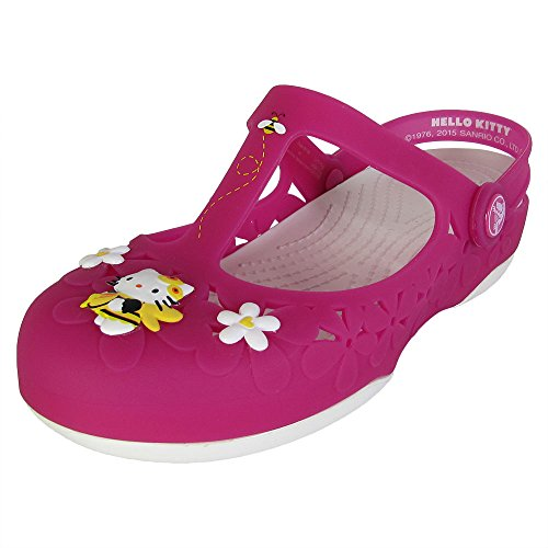 Crocs Womens Carlie Mary Jane Flower Hello Kitty Shoes, Fuchsia/White, US 6