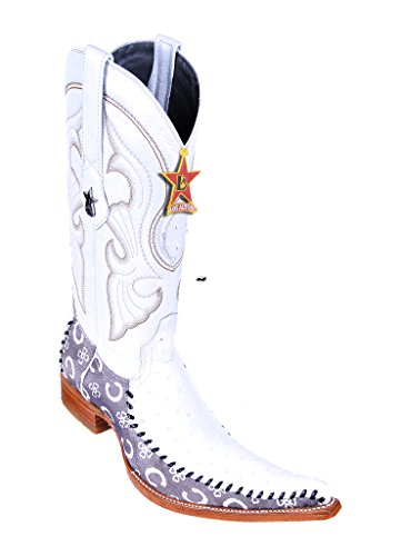 Men's 6X-Toe Fashion Design Clear White Genuine Leather Ostrich Skin Western Boots