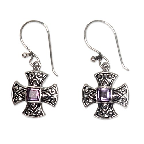 NOVICA Amethyst .925 Sterling Silver Dangle Earrings
