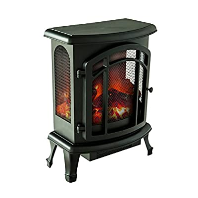 FLAME&SHADE Electric Fireplace Stove Heater, Portable Freestanding Fireplace, Black