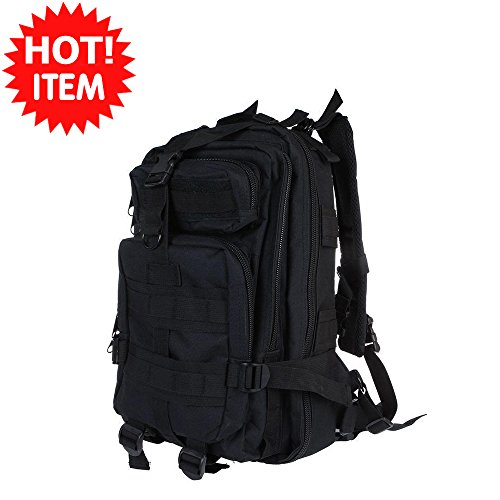 Black Outdoor Sport Military Tactical Rucksacks Backpack Camping Hiking Trekking Bag Padded and adjustable shoulder straps Front storage zip compartments