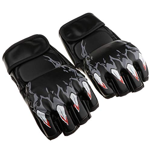 Prettyia 1 Pair Kickboxing Gloves Boxing Muay Thai Pouching MMA Training Half Finger Gloves Bag for Adults