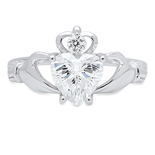 1.55 ct Brilliant Heart Cut Simulated Diamond CZ Designer Irish Celtic Claddagh Solitaire Wedding Promise Ring in Solid 14k White Gold by Clara Pucci