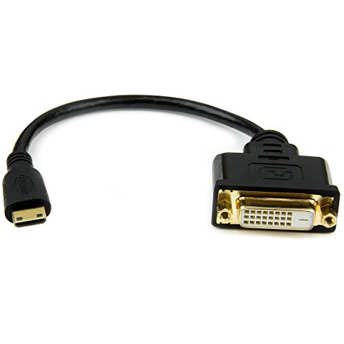 StarTech.com 8in Mini HDMI to DVI-D Adapter M/F - 8 inch Mini HDMI to DVI Cable - Connect a Mini HDMI Tablet or Laptop to a DVI-D Display (HDCDVIMF8IN)]()