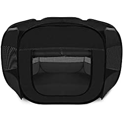 "48"" Black Pet Dog Cat Playpen Tent Portable Exercise Fence Kennel Cage Soft Crate"