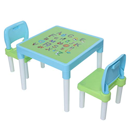 DDKK Kids 2-in-1 Stackable Plastic Table and Chairs Furniture Set with Natural Wooden Legs,Pink/Light Blue Color for Toddlers,Boys,Girls,School Home Play Room,Ship from USA (Light Blue) ()