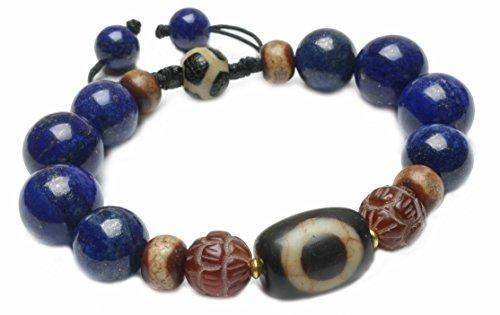 Élégant bouddhiste Ciel et la Terre Dzi Perles de protection Feng Shui Lapis Lazuli Amulette Bracelet - Fortune Feng Shui Bijoux